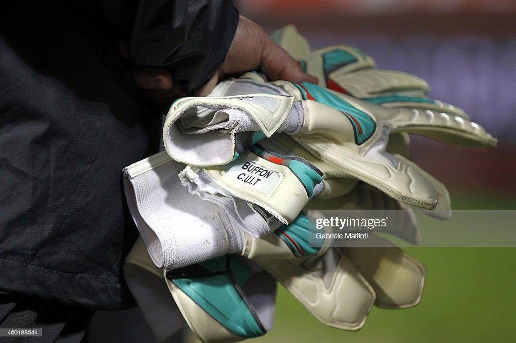 The gloves of goalkeeper Gianluigi Buffon of Juventus FC during the Serie A match between ACF Fiorentina and Juventus FC at Stadio Artemio Franchi on...