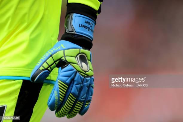 The gloves of Leicester City goalkeeper RonRobert Zieler