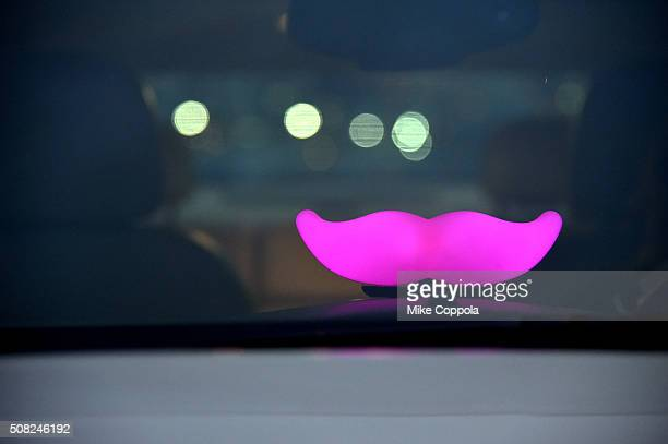 The Glowstache is seen in a Lyft drivers car on February 3 2016 in San Francisco California