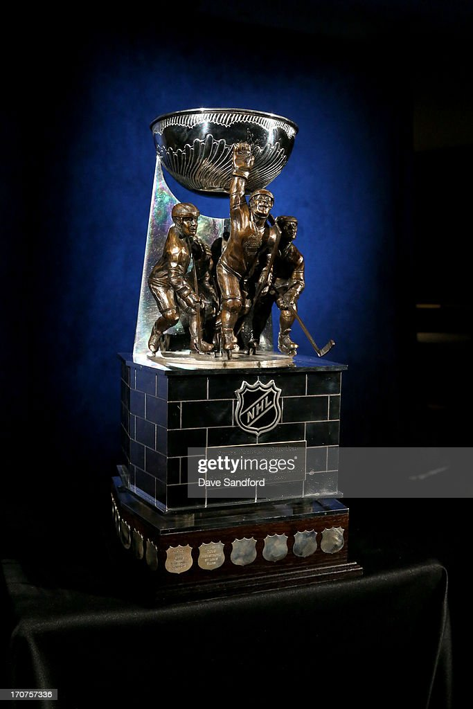 The GM Trophy is displayed before Game Two of the NHL Stanley Cup Finals between the Boston Bruins and the Chicago Blackhawks at the United Center June 15, 2013 in Chicago, Illinois.