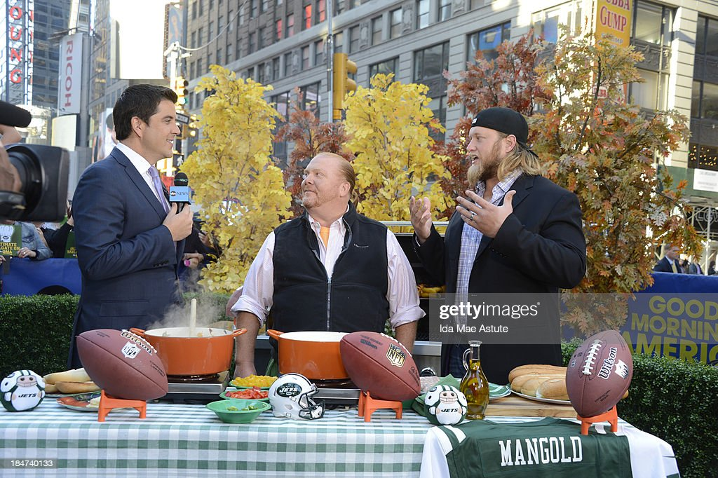 AMERICA - The GMA team tailgates in Times Square with the NY Jets, on GOOD MORNING AMERICA, 10/15/13, airing on the ABC Television Network. (Photo by Ida Mae Astute/ABC via Getty Images) JOSH