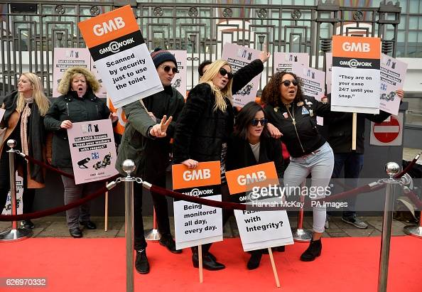 The GMB Union hold a quotCatwalk of Shamequot protest outside the ASOS headquarters in London about the conditions in the company's Barnsley warehouse