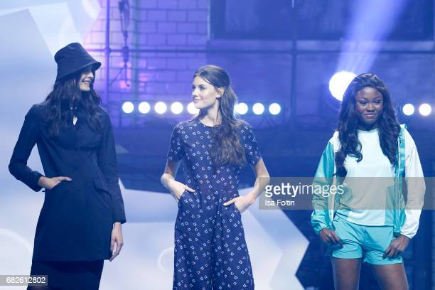 The GNTM Top 8 finalists Romina Brennecke Celine Badman and Leticia WalaNtuba during the GreenTec Awards Show at ewerk on May 12 2017 in Berlin...