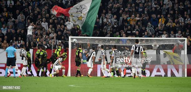The goal by Miralem Pjanic during the UEFA Champions League group D match between Juventus and Sporting CP at Juventus Stadium on October 18 2017 in...