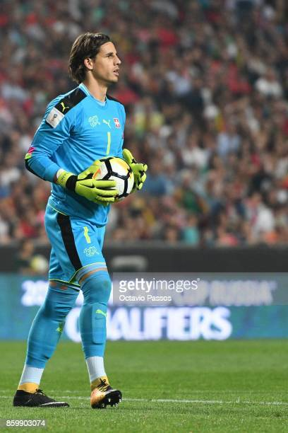 The goal keeper Yann Sommer of Switzerland in action during the FIFA 2018 World Cup Qualifier between Portugal and Switzerland at the Luz Stadium on...
