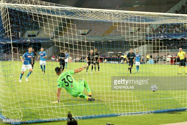 The goal of Jorge Luiz Frello Filho midfielder of Napoli during the match between SSC Napoli and OGC Nice to qualify for the playoffs of the UEFA...