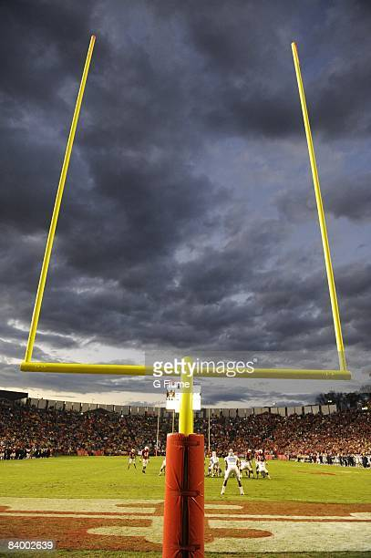 The goal posts at the game between the Maryland Terrapins and the North Carolina Tar Heels November 15 2008 at Byrd Stadium in College Park Maryland