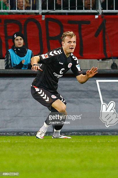 The Goalgetter Lennart Thy of St Pauli celebrates after the Goal 10 for St Pauli during the Second Bundesliga match between FC St Pauli and Fortuna...