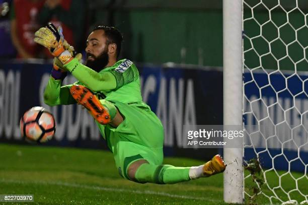 The goalkeeper of Brazil's Chapecoense Jandrei stops the shot by Argentina's Defensa y Justicia player Mariano Bareiro during the penalty shootout of...