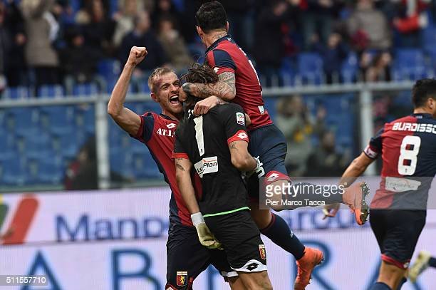 The goalkeeper of Genoa CFC Mattia Perini celebrates after he saved the penaltyduring the Serie A match between Genoa CFC and Udinese Calcio at...