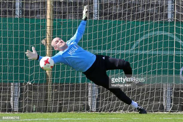 The goalkeeper of SpVg Blau Weiss 1890 trys to catch the ball during the half final match between SpVg Blau Weiss 1890 and Hannover 96 during the DFB...