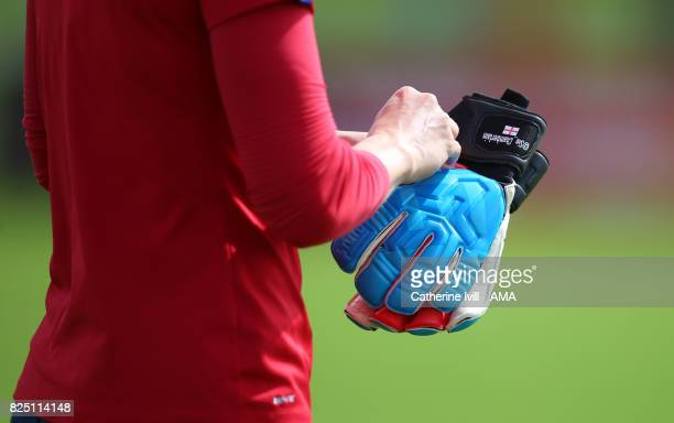 The goalkeeping gloves of Siobhan Chamberlain of England Women during an England Training Session on August 1 2017 in Utrecht Netherlands