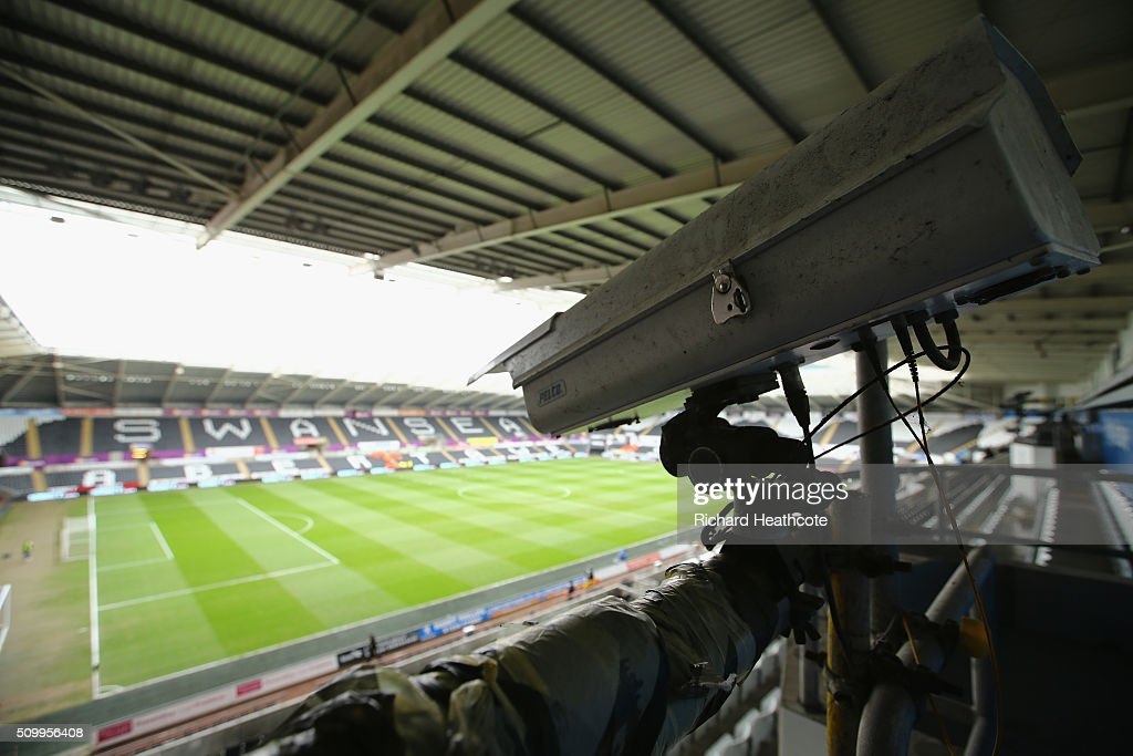 The goalline technology camera is seen on the stand prior to the Barclays Premier League match between Swansea City and Southampton at Liberty Stadium on February 13, 2016 in Swansea, Wales.