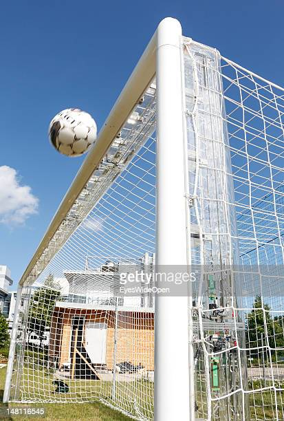 The GoalRef Technology system is tested at Fraunhofer IIS Research Institute on July 10 2012 in Erlangen Germany A magnetic field is installed in the...