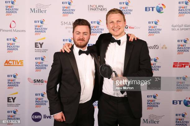 The Goat Agency pose with the Young Agency of the Year award during the BT Sport Industry Awards 2017 at Battersea Evolution on April 27 2017 in...