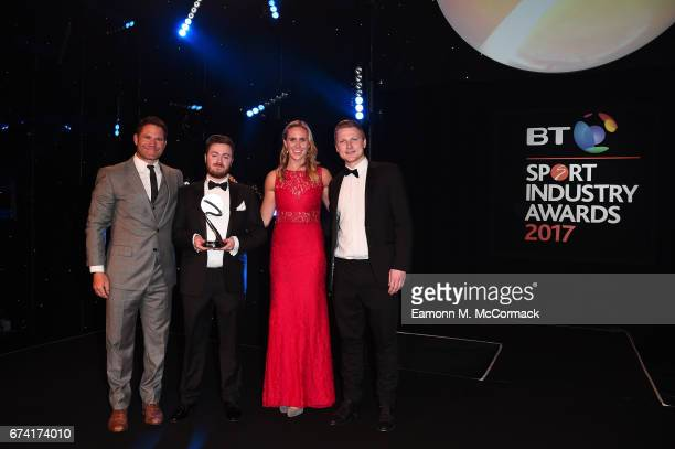 The Goat Agency receive the Young Agency of the Year award from Steve Backshall and Helen Glover during the BT Sport Industry Awards 2017 at...