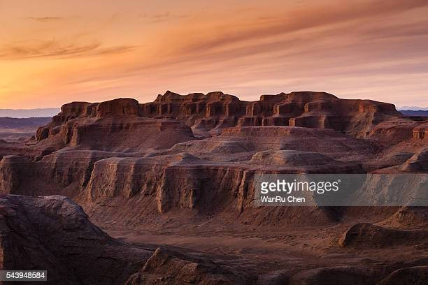 The Gobi Desert with dramatic sky at china.
