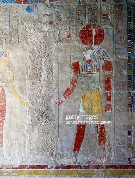 The God Horus detail of painted relief Chapel of Anubis Mortuary Temple of Queen Hatshepsut also known as DjeserDjeseru Deir elBahri Thebes Egyptian...