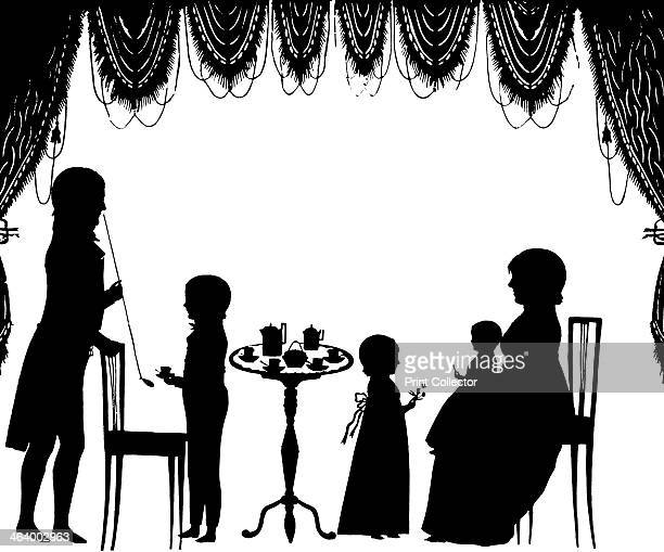 'The Goethe Family' Cut with scissors and mounted on a blue board A print from One Hundred Silhouette Portraits Horace Hart at the University of...