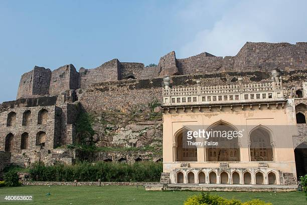 The Golconda Fort west of Hyderabad was first built around 945 The fortress is built on a 120meter high granite hill It was rebuilt and reinforced by...