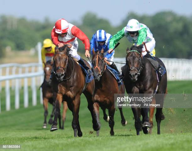 The Gold Cheongsam ridden by William Buick goes on to win the Luck Greayer Bloodstock Shipping Conditions Stakes during Retro at the Races day at...