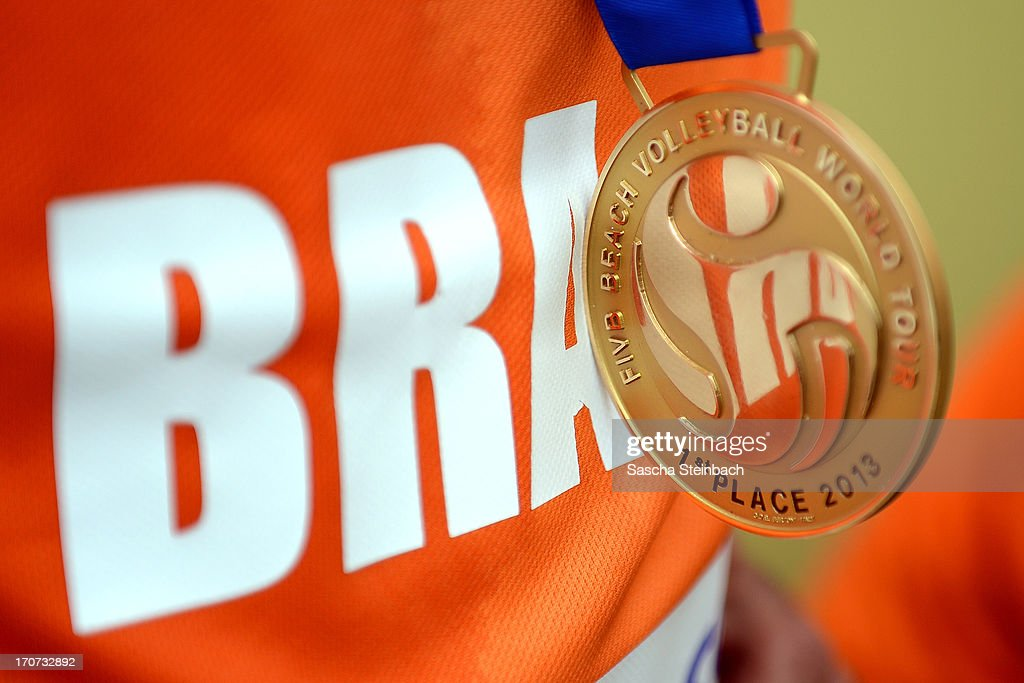 The gold medal is seen on the brazilian jersey after the FIVB Grand Slam final match day at The Hague Beach Stadium on June 16, 2013 in The Hague, Netherlands.
