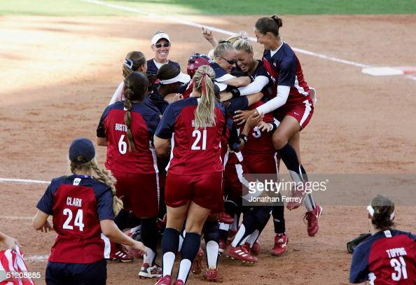 The gold medal winning team of the United States celebrates their victory over Australia in the softball gold medal contest on August 23 2004 during...
