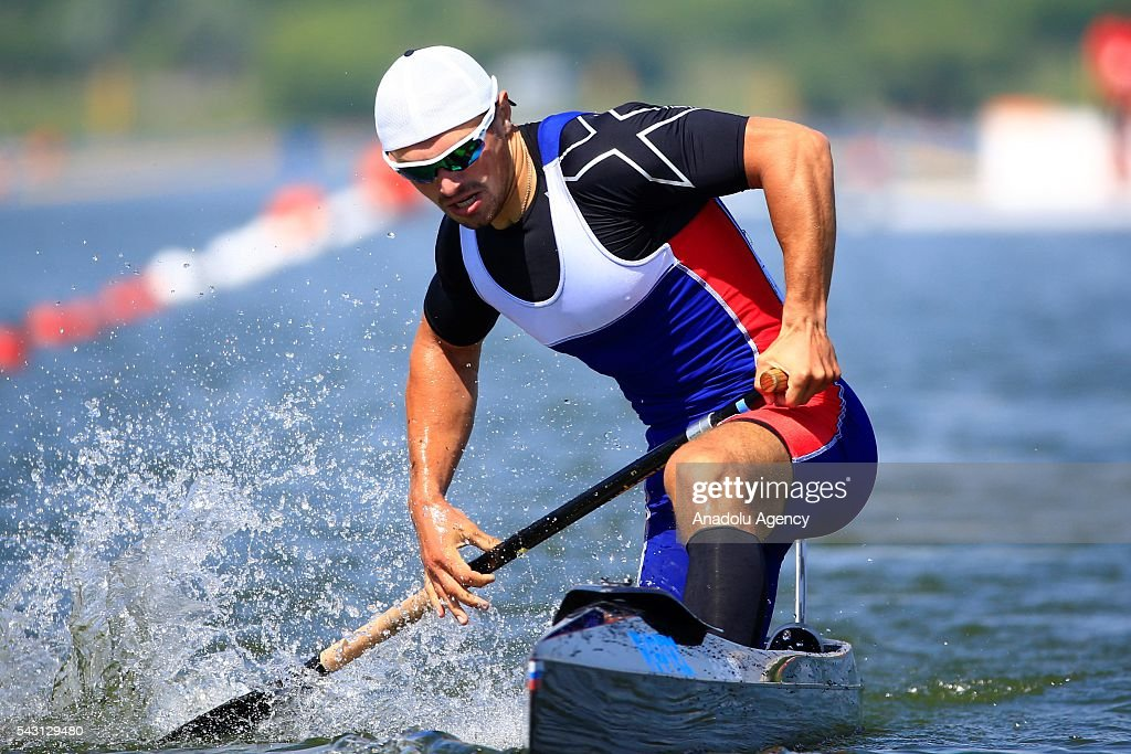 The gold medalist Andrey Kraitor in action during the men's C1 200 m final race, at the ECA Canoe Sprint European Championships 2016 in Moscow, Russia on June 26, 2016.