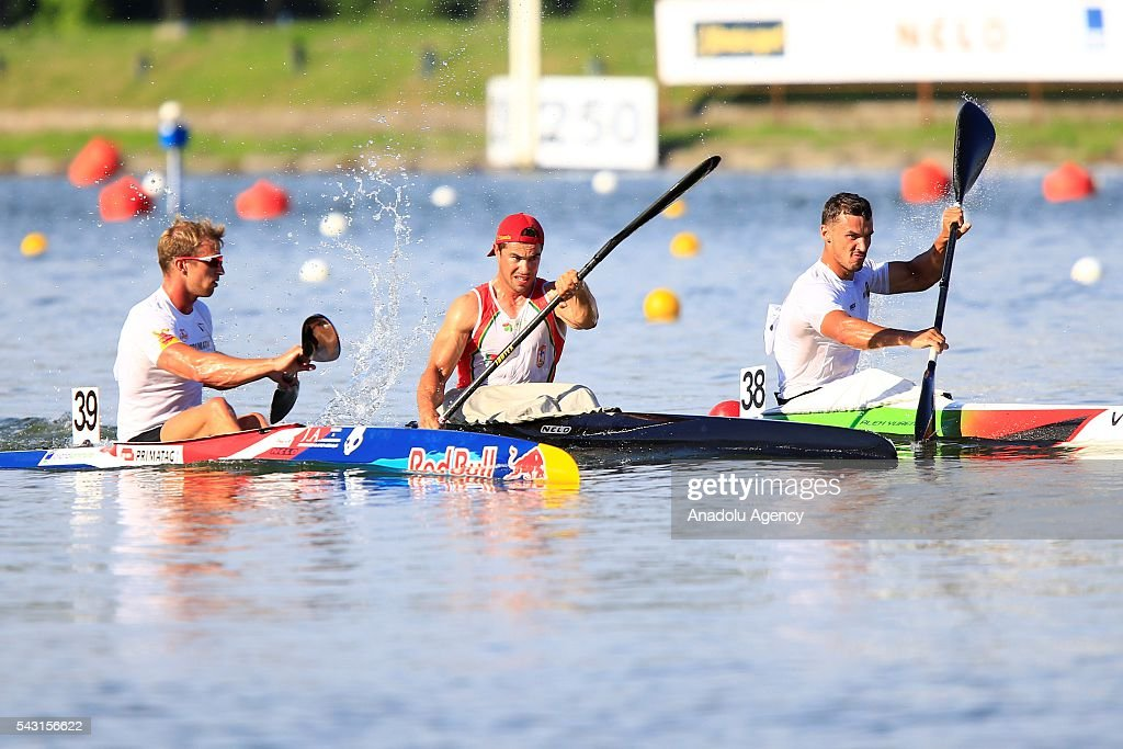 The gold medalist Fernando Pimenta (C) of Portugal in action during the men's K1 5000 m final race at the ECA Canoe Sprint European Championships 2016 in Moscow, Russia on June 26, 2016.