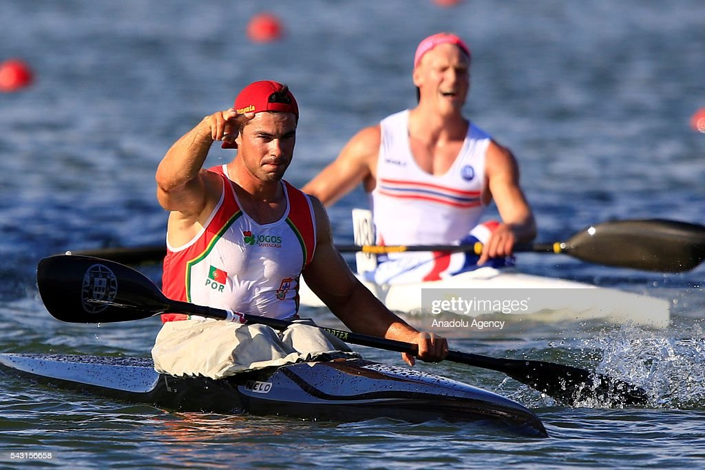 The gold medalist Fernando Pimenta of Portugal in action during the men's K1 5000 m final race at the ECA Canoe Sprint European Championships 2016 in Moscow, Russia on June 26, 2016.