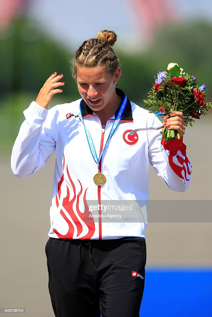 The gold medalist Lasma Liepa of Turkey gestures following the women's K1 200 m final race, at the ECA Canoe Sprint European Championships 2016 in Moscow, Russia on June 26, 2016.