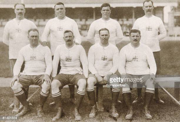 The gold medalwinning British tug of war team at the Summer Olympics in Antwerp Belgium August 1920