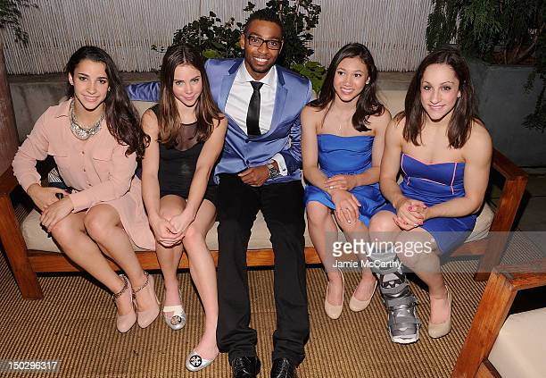 The gold medalwinning US Women's Gymnastics team Aly Raisman McKayla Maroney Kyla Ross and Jordyn Wieber with US competitive swimmer and Olympic gold...