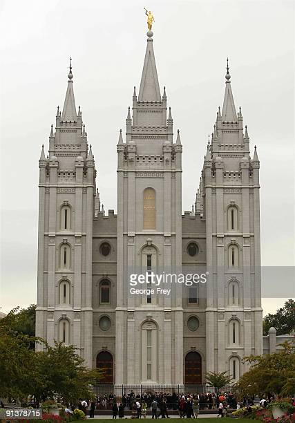 The golden Angle Moroni stands atop the Mormon Salt Lake temple while the 179th SemiAnnual General Conference of the Mormon church takes place on...