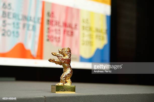 The golden bear for Jafar Panahi and his movie 'taxi' is seen at the Award Winners press conference during the 65th Berlinale International Film...