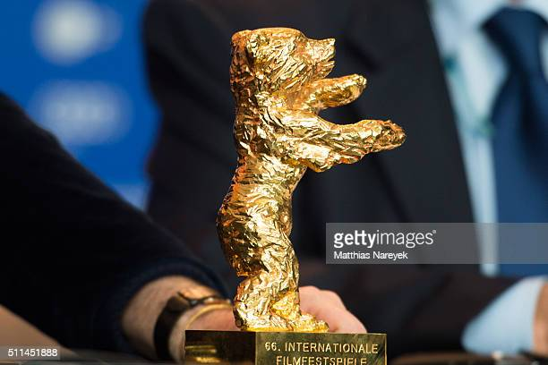 The Golden Bear of Gianfranco Rosi during the award winners press conference of the 66th Berlinale International Film Festival on February 20 2016 in...