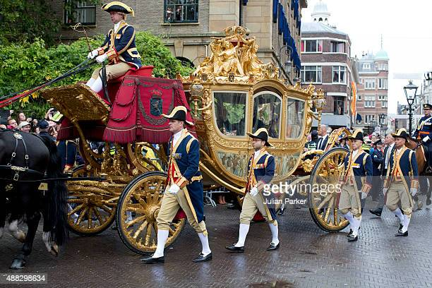 The Golden Carriage arrives back at The Noordeinde Palace during Prinsjesdag on September 15 2015 in The Hague Netherlands