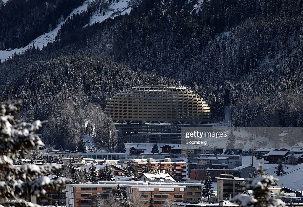 The golden dome of the new InterContinental hotel, center, operated by InterContinental Hotels Group Plc (IHG), sits above snow covered buildings in the town of Davos, Switzerland, on Saturday, Jan. 18, 2014. Next week the business elite will gather in the Swiss Alps for the 44th annual meeting of the World Economic Forum (WEF) in Davos for the five day event which runs from Jan. 22-25. Photographer: Simon Dawson/Bloomberg via Getty Images
