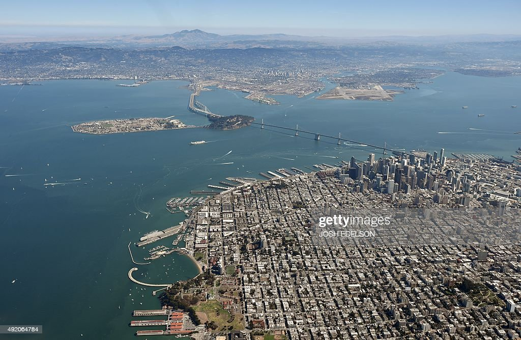 The Golden Gate Bridge and the San Francisco Bay are seen from above in San Francisco California on October 9 2015 AFP PHOTO/ JOSH EDELSON