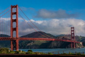 The Golden Gate Bridge at Golden Gate National Park is viewed from a nearby hiking trail on April 2 in San Francisco California San Francisco...
