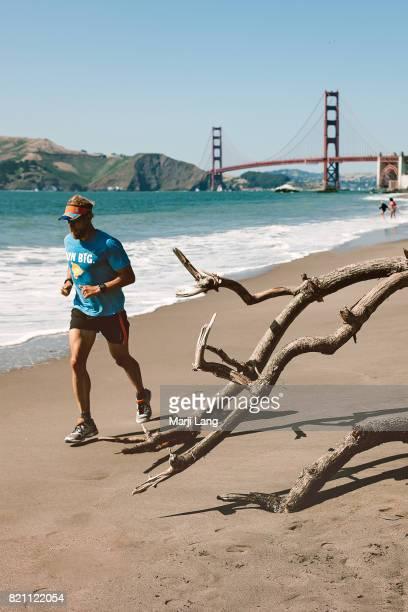 The Golden Gate Bridge from Baker beach San Francisco California USA