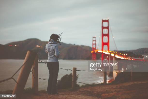 The Golden Gate Bridge from the Presidio in San Francisco California USA