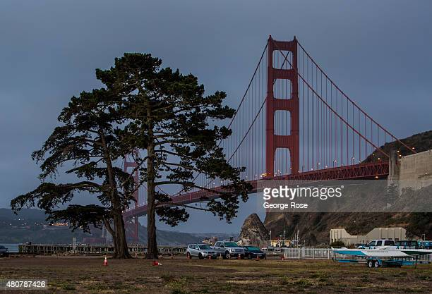 The Golden Gate Bridge is viewed from Cavallo Point before sunrise on June 23 in San Francisco California San Francisco continues to be a major...