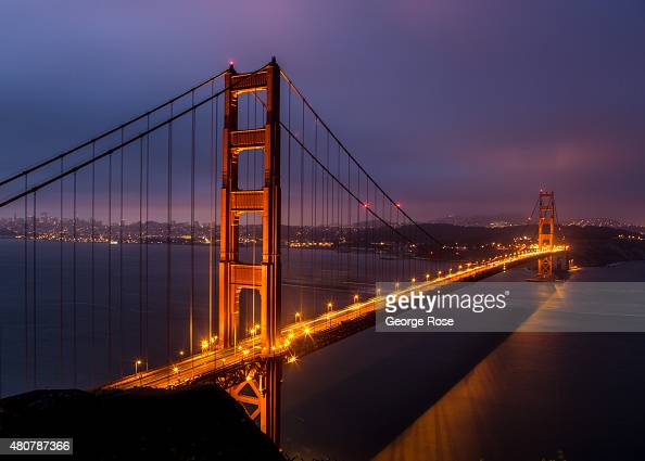The Golden Gate Bridge is viewed from the Marin Headlands just before sunrise on June 23 in San Francisco California San Francisco continues to be a...