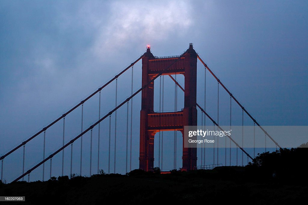 The Golden Gate Bridge is viewed just before sunrise on February 13, 2013, in San Francisco, California. Some 13.6 million international travelers visit the State each year generating nearly $100 billion in revenue and creating approximately 900,000 jobs in the arts, entertainment, recreation, food service and accomodations sectors.