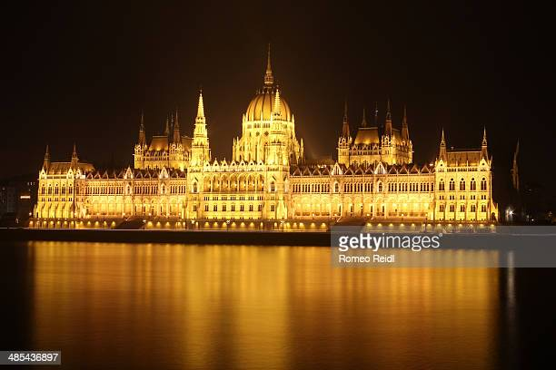 The golden lights of the hungarian Parliament