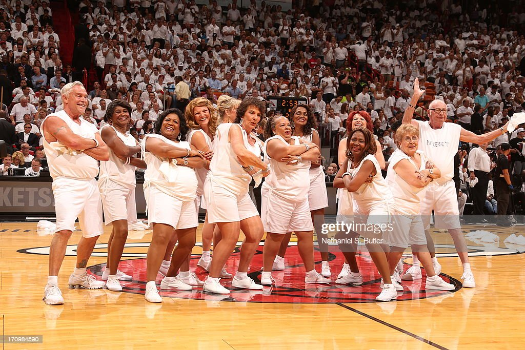 The Golden Oldies dancers of the Miami Heat perform during Game Seven of the 2013 NBA Finals on June 20, 2013 at American Airlines Arena in Miami, Florida.