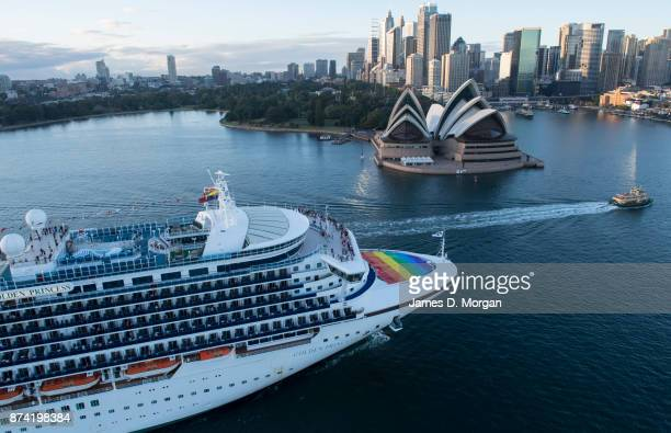The Golden Princess arrives in Sydney Harbour flying the rainbow flag in support of marriage equality on November 15 2017 in Sydney Australia...