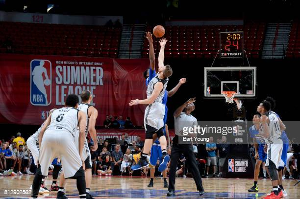 The Golden State Warriors and the Minnesota Timberwolves tipoff in over time on July 11 2017 at the Thomas Mack Center in Las Vegas Nevada NOTE TO...