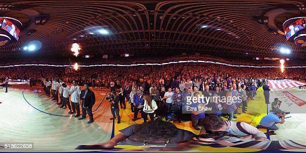 The Golden State Warriors and the Oklahoma City Thunder stand for the National Anthem before their game at ORACLE Arena on March 3 2016 in Oakland...